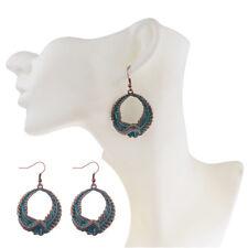 Bohemia Boho Style Gypsy Carving Olive Branch Pendant Dangle Silver Earrings