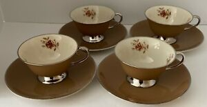 Four (4) Flintridge China (Gorham) Cocoa Rose Footed Cups and Saucers