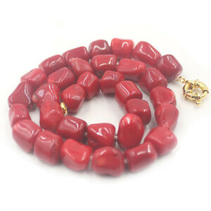 """12-14mm Fashion Freeform Red Coral Gemstone Knot Jewelry Necklace 18"""""""