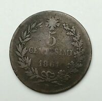 Dated : 1861 - Italy - Five Centesimi - 5 Cent Coin - Vittorio Emanuele II