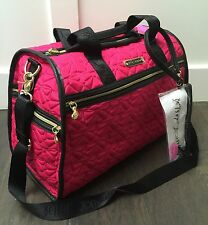 NWT Betsey Johnson Bow Quilt Quilted bows Weekender overnight travel Bag fuschia