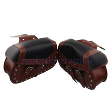 Motorcycle Leather Brown Saddlebag Motorbike Panniers Tool Bags Luggage Cusotm
