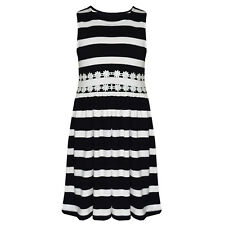Girls Kids Ex Branded Sleeveless Stripe Cotton Skater Summer Dress 5-13 Black