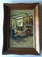 """Vintage Paul Porter Art Print """"The Wool Spinner"""", 8"""" x 12"""" (Image), Framed"""