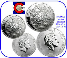 2014 Niue Hawksbill Turtle 1/2 & 1 oz Silver Coins -- in airtites