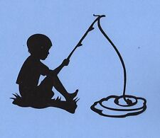 "Cricut Boy Fishing Silhouette Die Cut, 4"" tall, 1 pc - Black or you choose color"
