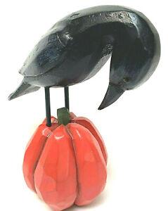 Halloween Raven Crow On Pumpkin Carved Fall Art