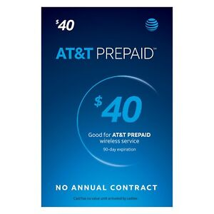 AT&T - AT&T Prepaid $40 Refill Top-Up Prepaid Card , AIR TIME  PIN / RECHARGE