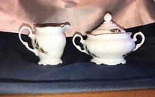WAWEL POLAND Vintage Wav57 Christmas Holly Cream and Sugar Set RARE