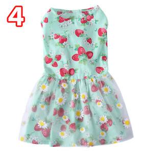 Pet Floral Print Dog Dress Puppy Cat Summer Cotton Bow Skirt Clothes XS-L