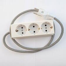 EU Euro AC Power Socket with Textile Cable 3way Schuko Textile Bakelit White