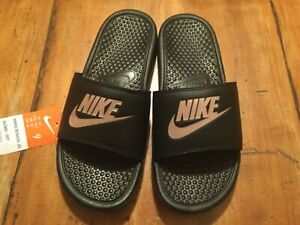 Nike Benassi Slides- Black/ Rose Pink. Size 9. New.