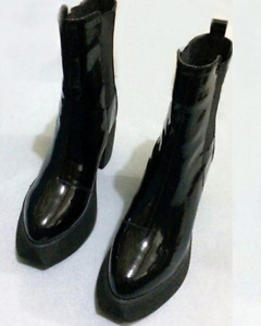 Women Patent leather Poingted Toe Chunky Muffin Platform Mid-Calf Boot Shoes A35