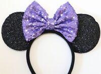 Disney Inspried Minnie Mouse Purple Sequin Bow Headband Ears/Daisy duck Ears