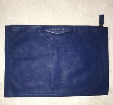 New GIVENCHY Medium Antigona Baby Blue Leather Zip Clutch Pouch Bag TE0123
