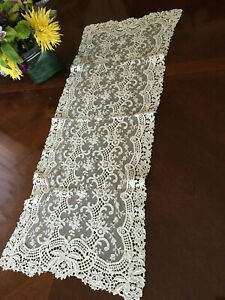 Antique/Vintage Lace and Netting Ivory Dresser Scarf Table Runner Doily 14 x 34