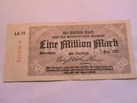 1923 Baden Germany 1 Million Mark VF+ Original Paper Money Inflationary Currency