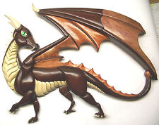 Intarsia wood carving Dragon 'Looking