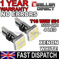 2x T10 501 W5W 4 SMD LED Side Light Parking Bulbs Xenon White 6000K
