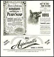 1896  Antique Print - ADVERTISING Hovis Bread Aspinalls Enamel Pears Soap (45)
