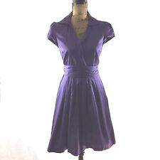 Ann Taylor LOFT 2 Small Dress Dark Purple Full Pleat Skirt Hidden Button Shirt