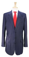 New! * EDGAR POMEROY * Bespoke $4500 Navy Blue Dotted 3Btn Hacking Suit 40XL
