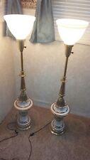 2 Vintage Stiffel Hollywood Regency Brass & Enamel Lamps Glass Shades