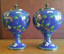 Pair Antique Chinese Cloisonne Enamel Pedestal Lidded Urns Jars