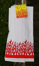 Red Flame Flower Sack Bar Towel 100% Cotton 2003 Accoutrements Fire Kitchen