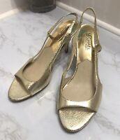 Size 6.5 Michael Kors  Leather Gold Sandals Hombre Heels