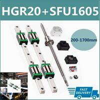 Linear Guide Rail HGR20 2PCS 200mm~1700mm+SFU1605 BallScrew BK/BF12 Set CNC