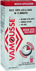 Vamousse Head Lice Treatment Steel Comb Included Mousse Application Fast Acting