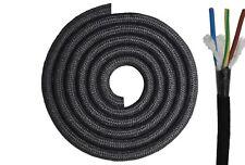 Textilkabel rund 3x0,75mm² schwarz RAL9005 Baumwolle Textilleitung Lampenkabel