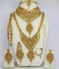 Indian Jewelry Necklace Earring set New Gold Plated Lct Dulhan wedding complete