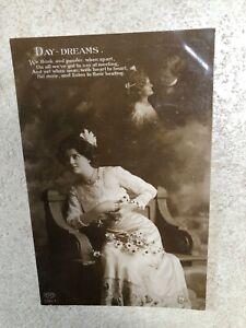 1900s postcard - day dreams ! edwardian lady