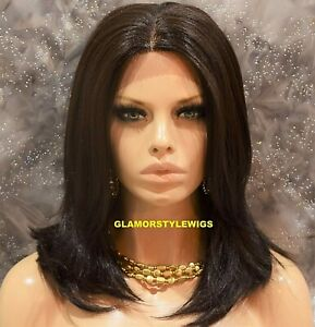 Lace Front Full Wig Layered Medium Brown Hand Tied Monofilament Heat Ok #4 NWT