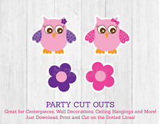 Pink & Purple Owl Party Cutouts Decorations Printable