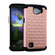 For LG Optimus Zone 3 / K4 - Hard&Soft Hybrid Diamond Bling Case Cover ROSE GOLD
