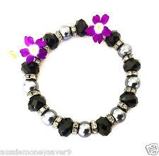 Grey Pearl silver crystal bead Black Gold Plating Bracelet Bangle FREE Gift Bag