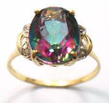 SYJEWELLERY 9CT YELLOW GOLD NATURAL MYSTIC TOPAZ & DIAMOND RING     R1413