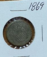 1869 Shield Nickel 5 Cent Piece
