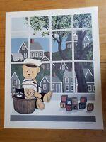 Vintage Hand Signed Maggie Meredith Print Nantucket Cat Bear