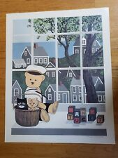 Vintage Hand Signed Maggie Meredith Print Nantucket Cat Bear
