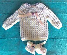 NOUVEAU layette bébé,brassière-chaussons NAISSANCE lilas blanc hypoallergénique