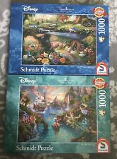 Schmidt Thomas Kinkade 1000 Disney Puzzles x 2 Peter Pan & Alice In Wonderland
