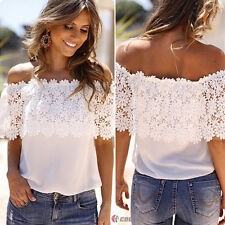 Boho Women Lace Crochet Blouse Off Shoulder Party Lady Casual T Shirt Beach Tops