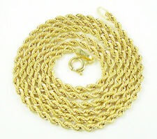 "18"" 2.15mm 2.50 Grams Mens Ladies 10k Yellow Gold Rope Hip Hop Chain Necklace"