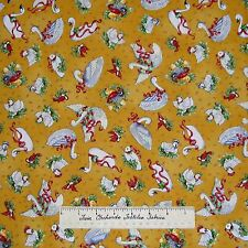 """12 Days of Christmas Fabric - French Hens Geese Toss Yellow SSI Quilt Cotton 30"""""""
