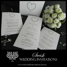 Diamante Heart Modern Engagement Wedding Invitations - Samples Invites ONLY $1