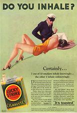 PUBBLICITA' 1932 SIGARETTE LUCKY STRIKE  FUMO TABACCO SMOKE SENSUALITA' DONNA